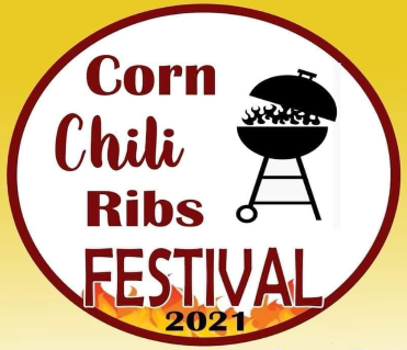 Corn Chili Ribs Festival 2021 logo with grill and fire