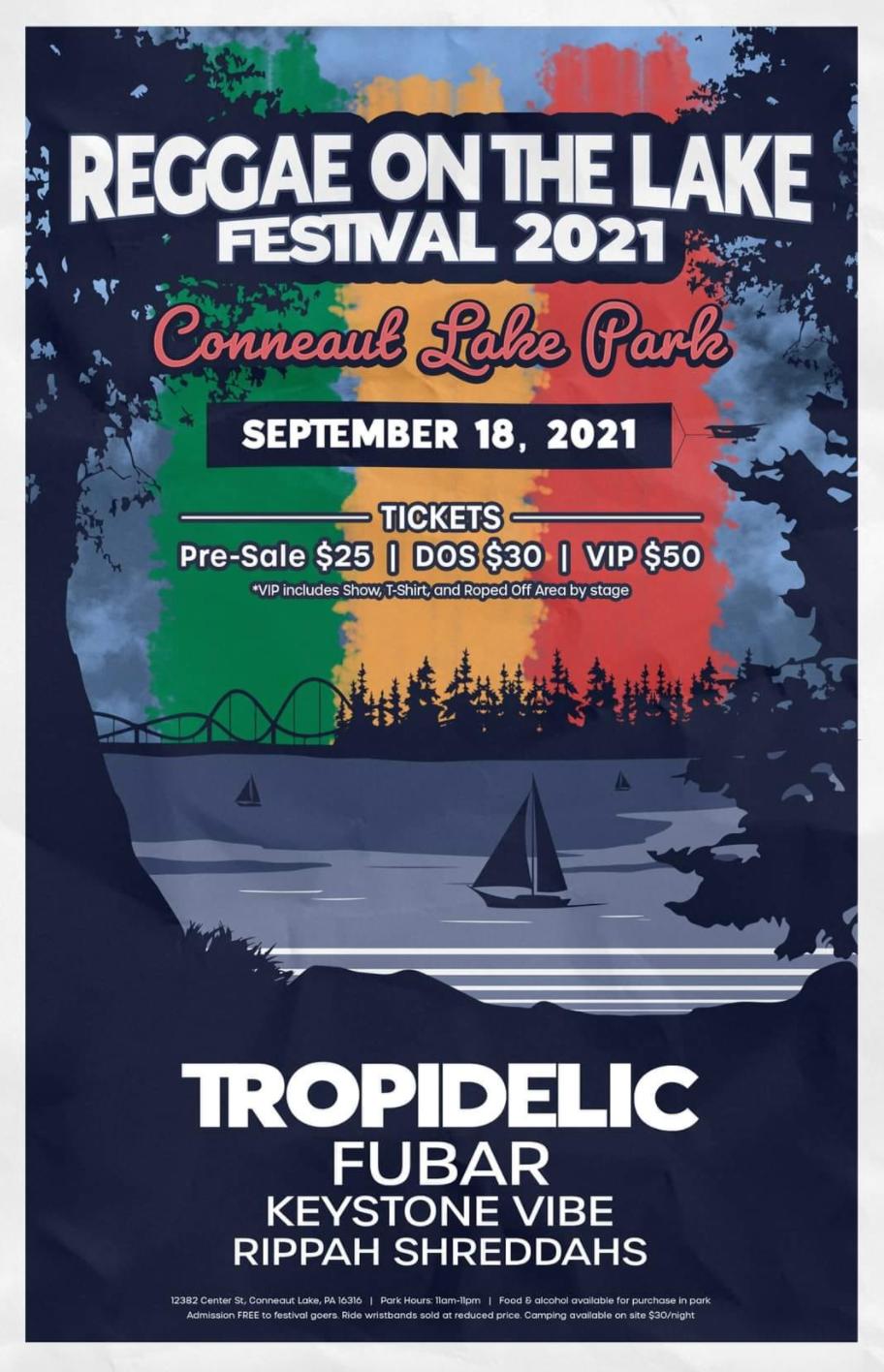 Reggae on the lake 2021 concert logo drawing of boat on lake